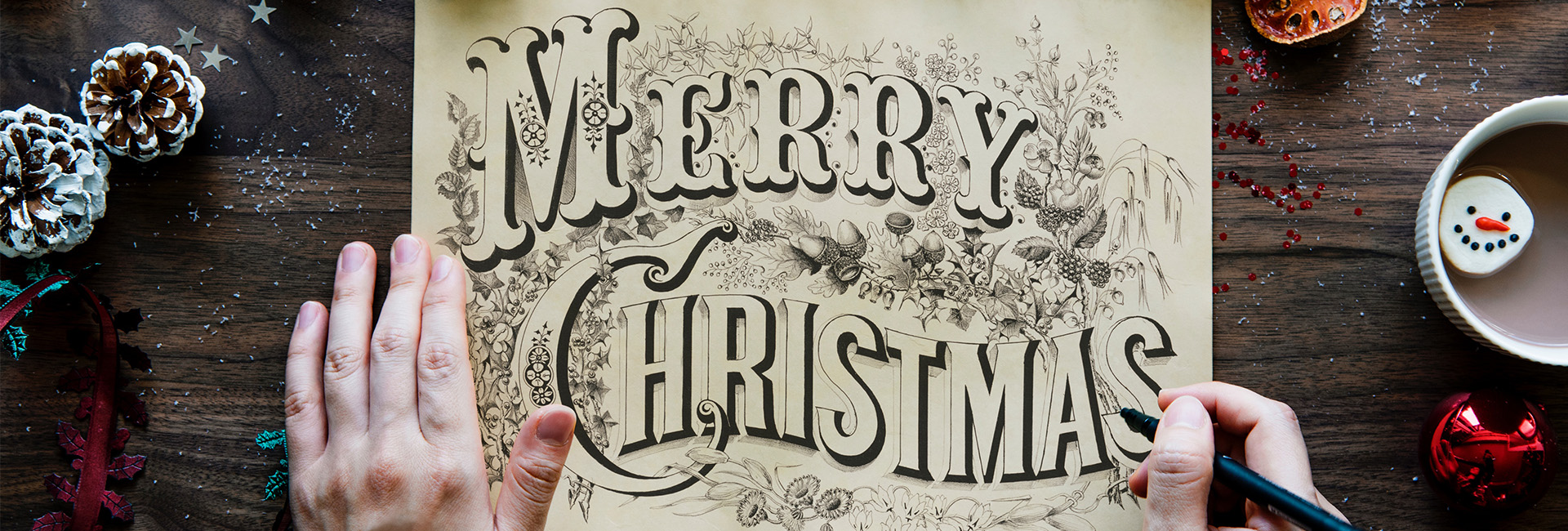 Merry Christmas Handwritten Design on Paper