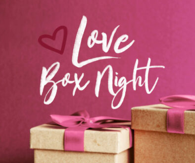 Love Box Night - Pink Banner with Gift Boxes